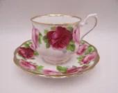 "Vintage 1930s Royal Albert English Bone China ""Old English Rose"" English Teacup and Saucer Set  Delightful English Tea Cup Set"