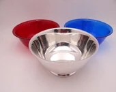 Vintage Oneida Paul Revere Reproduction Silverplate Serving Bowl with Red and Blue Plastic Inserts