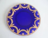 Vintage Cobalt Blue Glass Dinner Plate with Gold Laurel Swag Edge Lovely Cobalt Blue Heavy Glass Plates - Wheeling Decorated Glass