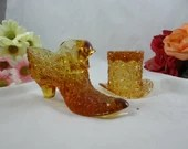 Vintage Amber Glass Fenton Top Hat and Shoe - Glass Paperweight