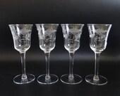 4 Antique Cut Glass Claret Wine Goblets or Dessert Tasting Glasses for your Elegant Dining Table or Barware Set