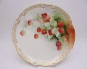 Vintage Limoges France Hand Painted and Artist Signed Strawberries Plate