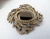 Gorgeous Art Deco Onyx and Marcasite Brooch Pendant on Silver 925 Setting  - Elegant Period Design - 1920s 1930s