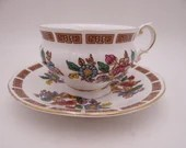 1960s Vintage Elizabethan English Bone China Colorful Teacup and Saucer Set Outstanding English Tea cup