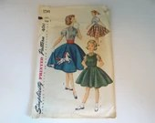 Vintage Simplicity # 1741 Girl's Full Skirt Dress and Blouse Sewing Pattern Size 7 -  Cut but Complete - Mid Century Full Skirt Pattern