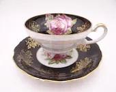 1940s Stunning Vintage Royal Halsey Black and Gold Pink Rose Teacup and Saucer Set