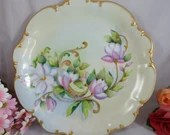 Large Hand Painted Artist Signed Hutschenreuther Bavaria Magnolias Porcelain Serving Plate Charger