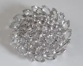 Marquis and Round Clear Faceted Rhinestone Brooch on Sterling Silver Setting a Lovely Lapel Pin or for more Formal Occasions