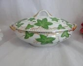 Antique Vintage  Hand Painted Covered Candy Dish Jewelry Dish  Trinket Dish - delightful