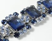 DeLiza & Elster Juliana Sapphire Blue and Confetti Stone with Clear Rhinestone Bracelet on a Silver Tone Setting a Stunning Vintage Bracelet