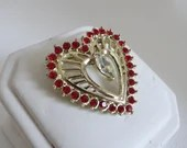 Vintage Red Rhinestone Heart with Clear Rhinestone Center on Gold Tone Setting a Simple and Elegant Design for Love