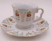 Vintage Hand Painted Blue Floral  Porcelain Demitasse Cappuccino Teacup and Saucer Cute Espresso Cup