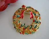 Vintage Christmas Holiday Wreath Brooch Pin - Red and Green Holly Wreath with Red Bow Pin Brooch - Holiday Ready - Christmas - Gift for Her