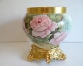 Spectacular Large 1890s Limoges France T&V Tressemann and Vogt Jardiniere Pink Rose Gilded Jardiniere with Porcelain Stand Centerpiece Vase