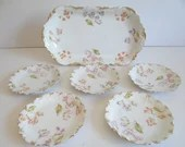 Antique 1920s Limoges France Factory Decorated Hand Painted Elite Bawo Dotter Platter and Plate Set Dinner Party Dessert Afternoon Tea Set