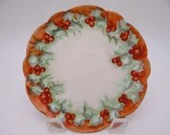 c1895 Vintage Hand Painted Vienna Austria Red Cherry Small Plate - Cute