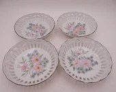 Vintage Set of 4 Hand Painted and Artist Signed Pink and Blue Floral Reticulated Lattice Bowls