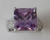 Vintage Emerald Cut Amethyst Purple Rhinestone Ring on a Clear Rhinestone Detail Silver Tone Setting - Size 7 - Purple Ring- Gift for Her