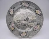 """Vintage Adams Potteries English Bone China """"The Rocky Mountains Emigrants Crossing the Plains""""  Dinner Plate"""