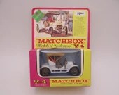 Rare 1960s Vintage Lesney Matchbox Y-4 Models of Yesteryear 1909 Opel Coupe Diecast Car in Original Blister Pack Box