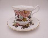 Vintage Royal Grafton English Bone China Pink Floral Bouquet Teacup and Saucer Set Charming English Tea Cup Set 2138