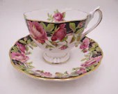 """1950s Vintage Queen Anne English Bone China """"Black Magic"""" Teacup and Saucer set Lovely English Tea Cup"""