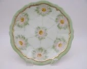 1898 Antique Hand Painted  O.&.E.G. Royal Austria Green and Pink Floral Plate with Enamel Accents - 2 Available