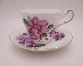 Vintage 1950s Regency English Bone China Purple Pansy Teacup and Saucer Set lovely English Tea Cup