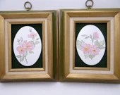 Pair of Framed Hand Painted and Artist Signed Pink Poppy Wall Plaques - Ready to Hang