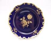 Vintage JLMenau Germany Echt Cobalt  Blue and Gold Rose Cabinet Plate