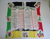 """Vintage English Spanish Dictionary Phrase Scarf in Red Yellow Black and White Colors with Depictions of Spanish life on border - 32"""" by 33"""""""