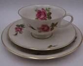 Vintage Rosenthal Aida Cream Rose Teacup and Saucer Tea Trio Set German Tea Cup