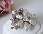 Gray Crinkle Rhinestone and Aurora Borealis Brooch on a Silver Tone Setting Pretty Vintage Brooch Pin on Riveted Setting