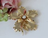 Lovely Three-Dimensional Shiny Gold Metal Flower Brooch with Clear Rhinestone Center Brooch Pin