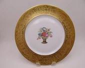 Antique Spectacular Gold Encrusted H&C Selb Bavaria Germany Stouffer Studio Flower Basket Dinner Plate - 6 Available