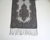 """Lovely Vintage Silver Gray Damask Sheer Scarf with Sparkly Accents and Fringe Approximately 60"""" long by 19.5"""" wide"""