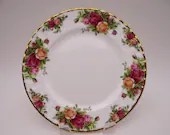 Vintage Royal Albert Old Country Roses Salad or Lunch Plate  - 4 Available