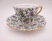 Vintage Rosina English Bone China Multicolored Floral Chintz Teacup and Saucer Set Lovely English Tea Cup 5358