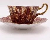 1950s Vintage Mid Century Royal Stuart English Bone China Red and Gold Teacup and Saucer lovely English Tea Cup