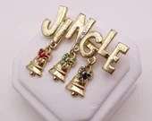 Vintage Gold Tone Jingle Bells with Dangling Bells on a Gold Tone Setting - Christmas Bells Pin Brooch - Elegant - Gift for Her