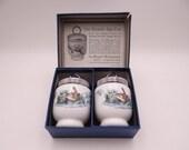 """Vintage Pair Standard Size Royal Worcester Egg Coddler """" Birds"""" in Original Box"""