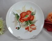 1950s Vintage Hand Painted Japanese Red Orchid Plate Stunning