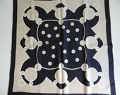 """Lovely Vintage Elen Paris Navy and Taupe Geometric Pattern Scarf 29"""" by 30.75"""""""