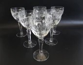 """Set of 6 Vintage Cut Crystal Liqueur or Sherry or Cordial Glasses for your Elegant Barware Collection 5"""" Tall"""