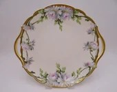 """Antique 1890s T&V Tressemann and Vogt Limoges France Hand Painted and Artist Signed """"W. Wilson"""" Pink and White Floral Serving Tray"""