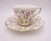 """Vintage Rosina English Bone China """"June"""" Floral Chintz Teacup and Saucer Set Lovely English Tea Cup 4974"""