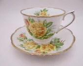 "1940s Vintage Royal Albert English Bone China ""Tea Rose"" Yellow Rose English Teacup and Saucer set English Tea Cup"