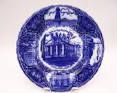 "Rare Vintage 1900s English Bone China Flow Blue and White Souvenir Plate ""New Bedford, Mass."""