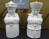 """MIB Vintage Lladro Prestige """"Emperors""""  Bisque and Gold Salt and Pepper Set with Original Box"""