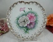 1950s Vintage Hand Painted Artist Signed Heart Shaped Lattice Serving Plate